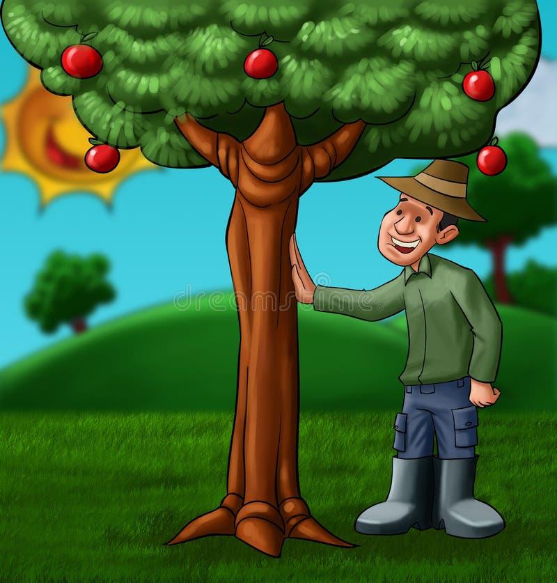 O fazendeiro e a árvore ilustração do vetor