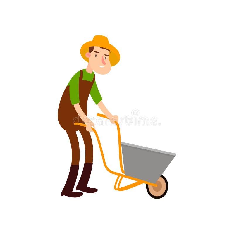 O fazendeiro em um carrinho de mão leva a terra Os fazendeiros lisos do projeto ajustaram o vetor da ilustração ilustração do vetor