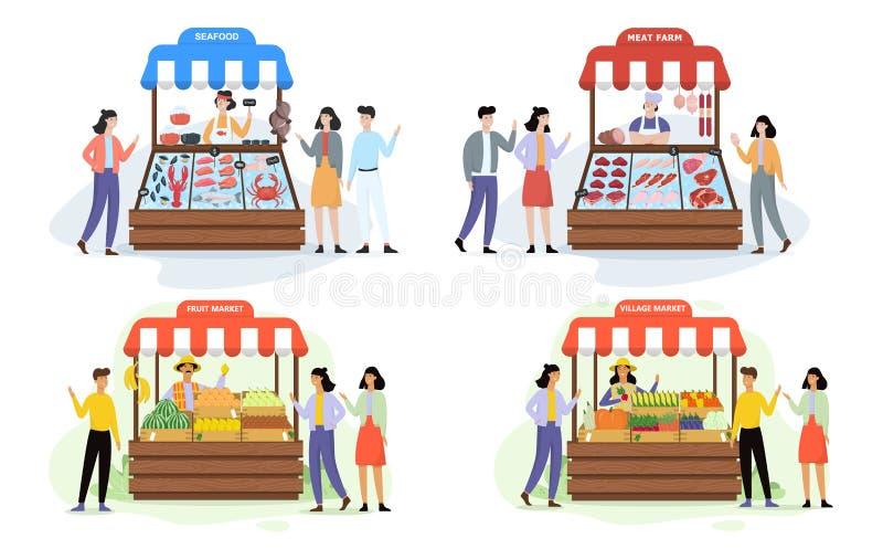 O fazendeiro feliz vende o alimento biológico fresco do grupo da exploração agrícola ilustração stock