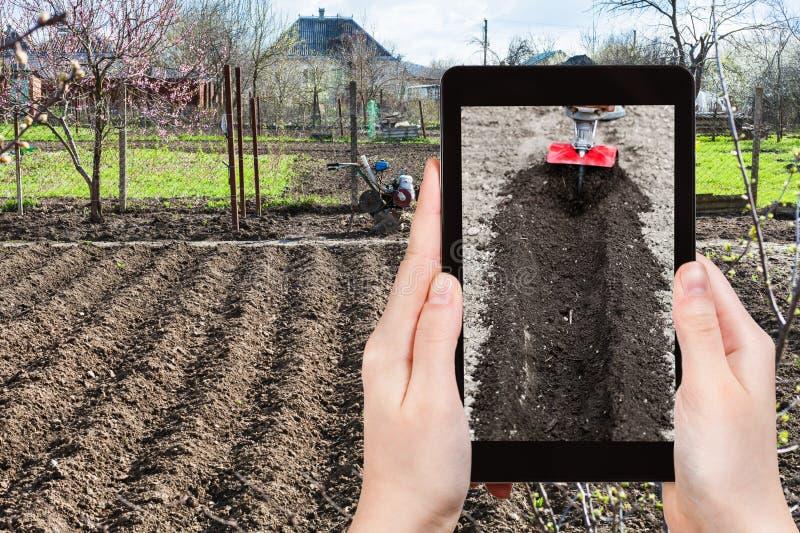 O fazendeiro fotografa a aradura da terra do jardim imagem de stock