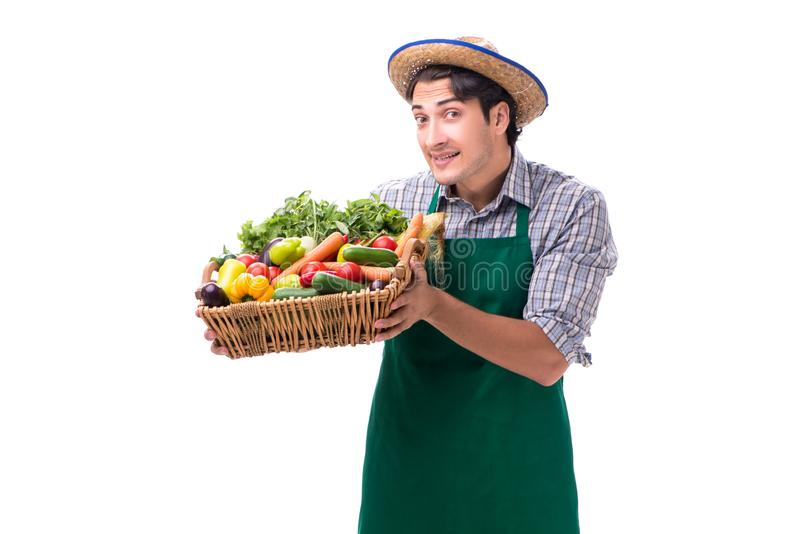 O fazendeiro novo com os produtos frescos isolados no fundo branco imagem de stock
