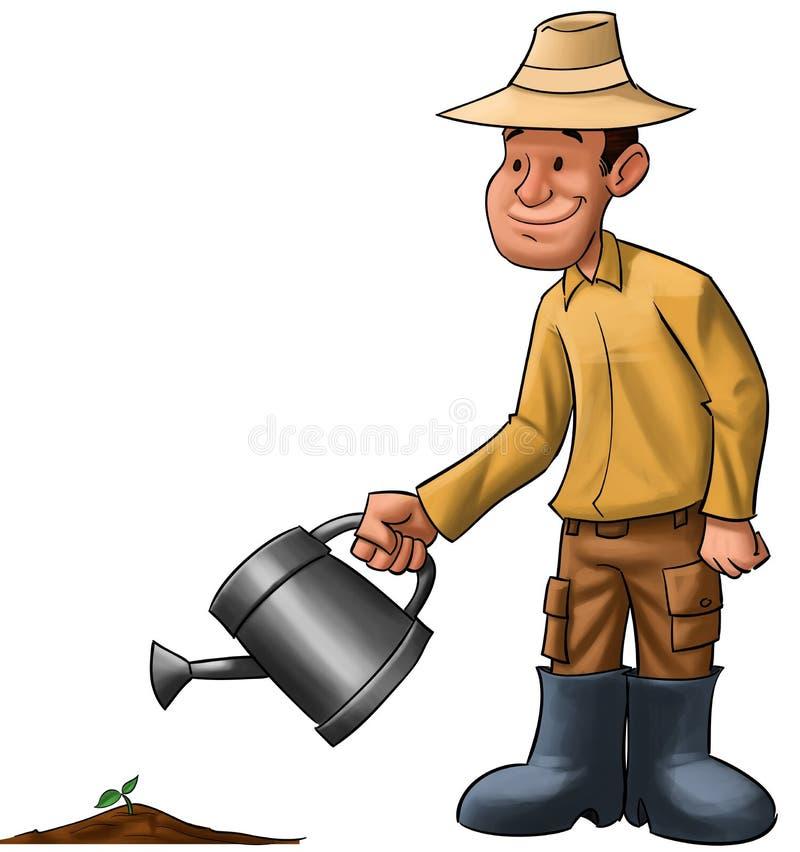 O fazendeiro polvilha uma planta ilustração stock