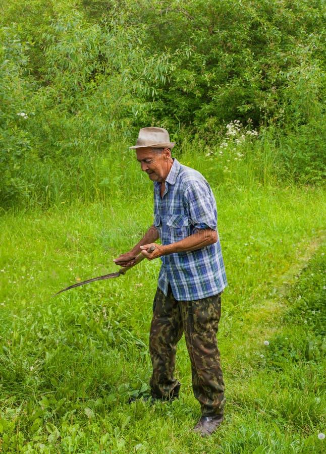 O fazendeiro sega a grama imagens de stock royalty free