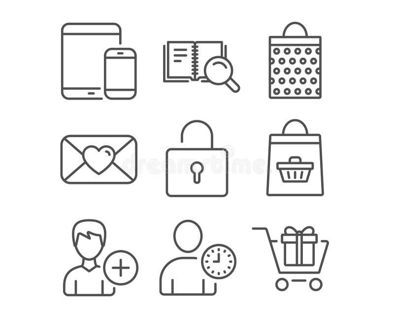 O fechamento, adiciona a pessoa e os ícones do Valentim Dispositivos móveis, livro da busca e sinais de compra em linha ilustração royalty free