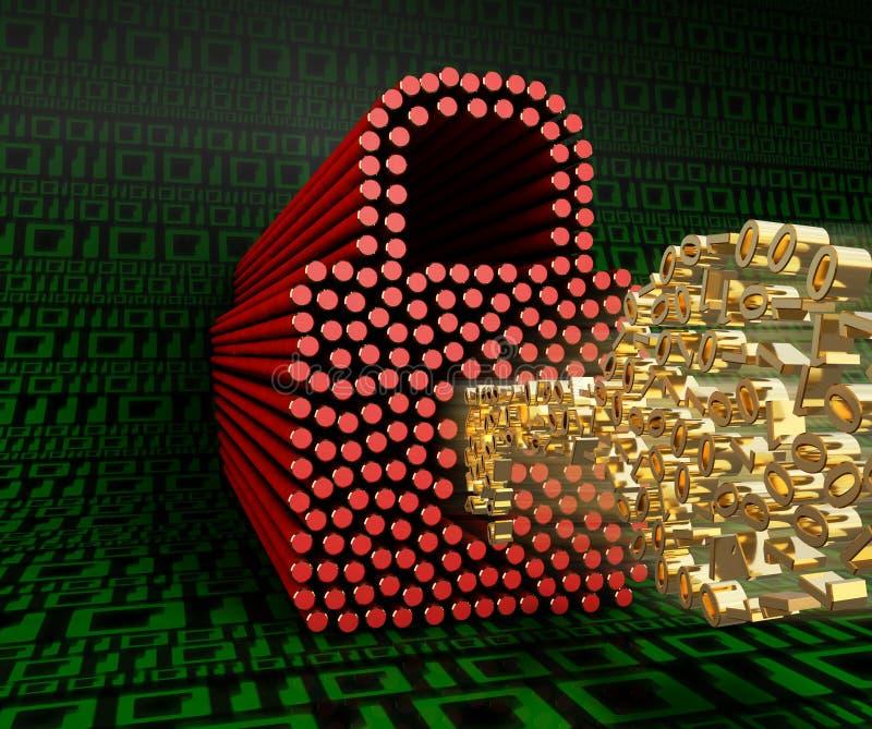 O fechamento e a chave dos zero e de uns em um fundo dos dígitos verdes zero e um ilustração 3D ilustração do vetor