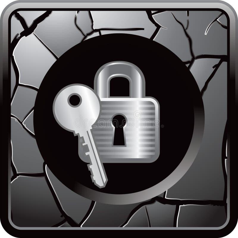 O fechamento e a chave no Web rachado cinzento abotoam-se ilustração stock