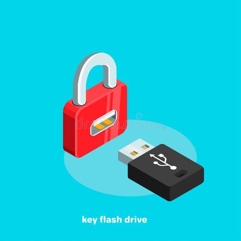 O fechamento e o flash vermelhos da chave conduzem, isométrico ilustração do vetor