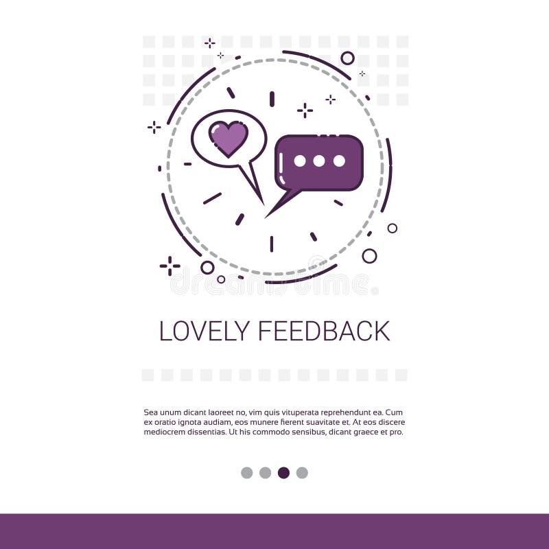 O feedback bonito gosta da bandeira com linha fina do espaço da cópia ilustração stock