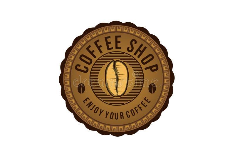 o feijão de café do vintage, logotipo redondo do emblema projeta a inspiração isolado no fundo branco ilustração royalty free