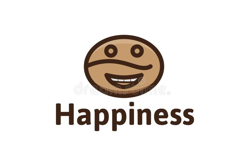 o feijão de café, emoticon feliz, logotipo do logotipo da cafetaria projeta a inspiração isolado no fundo branco ilustração stock
