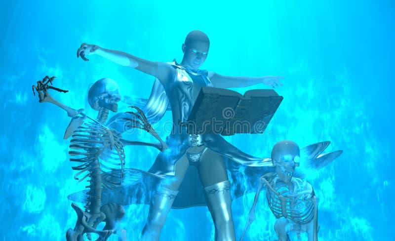 O feiticeiro chama undead ilustração do vetor