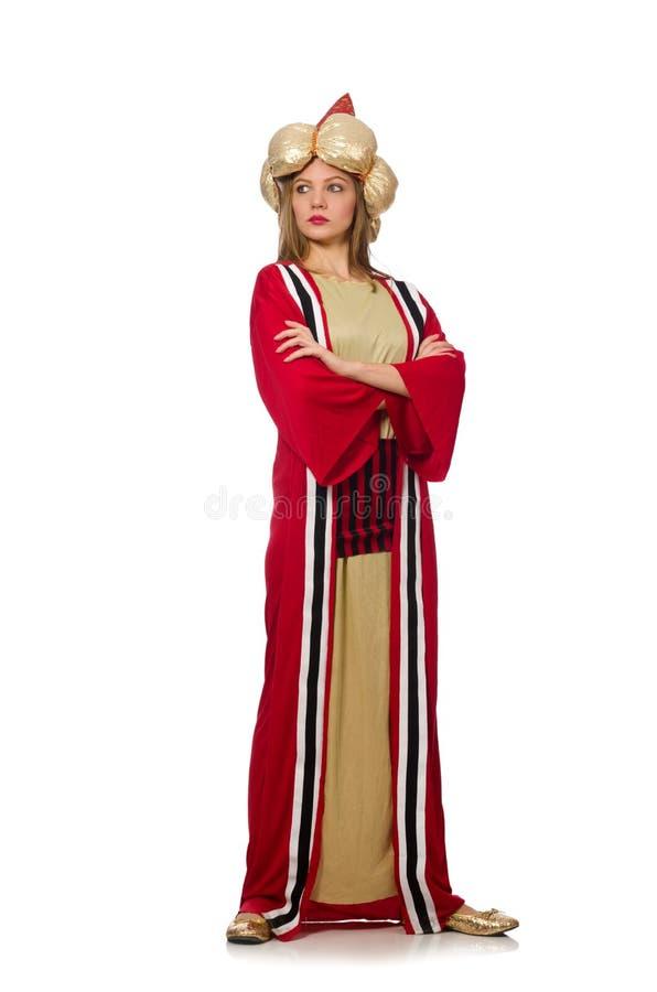 O feiticeiro da mulher na roupa vermelha isolada no branco imagens de stock