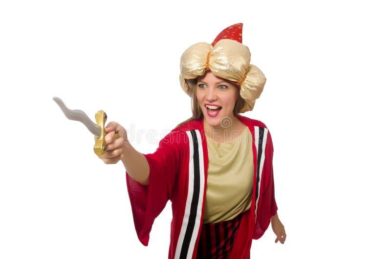 O feiticeiro da mulher na roupa vermelha isolada no branco fotos de stock royalty free