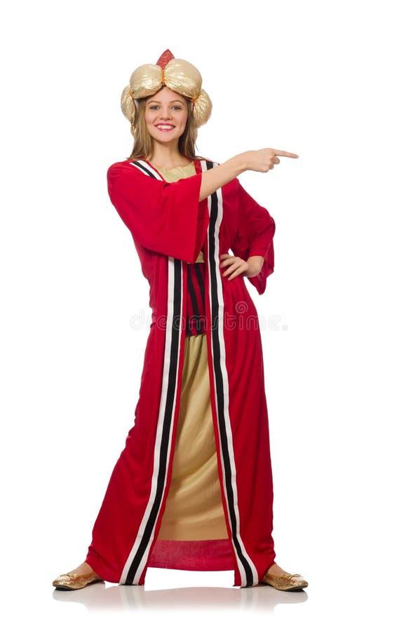 O feiticeiro da mulher na roupa vermelha isolada no branco fotos de stock