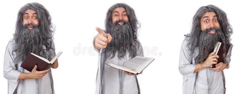O feiticeiro idoso engra?ado com livro foto de stock royalty free