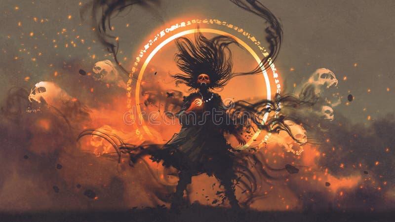 O feiticeiro irritado de espírito maus ilustração royalty free