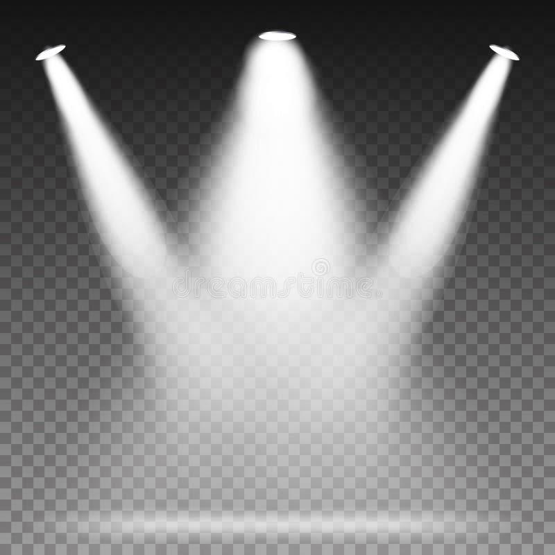 O feixe branco ilumina o vetor dos projetores cena Efeitos da luz ilustração do vetor