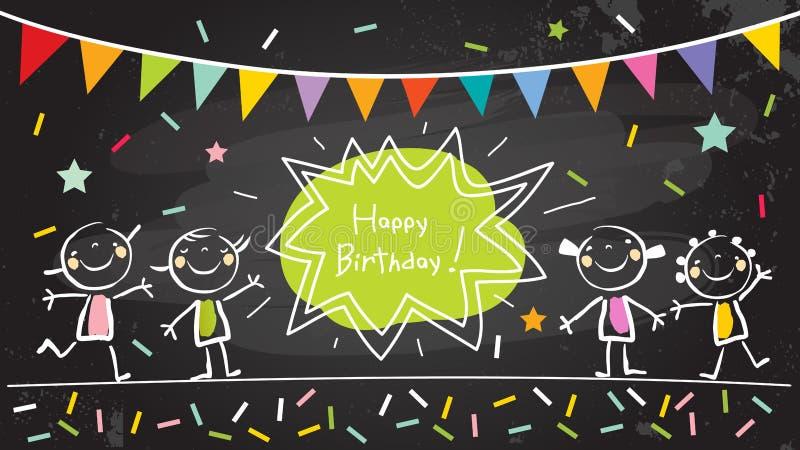 O feliz aniversario caçoa o cartão ilustração royalty free