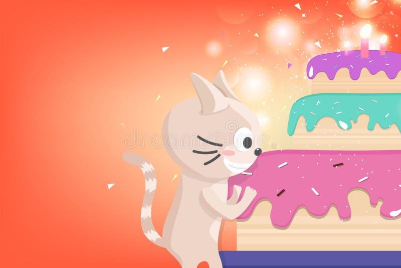 O feliz aniversario, o cartão, o fogo de artifício bonito, os confetes e a estrela do partido da celebração do gatinho brilham ca ilustração royalty free