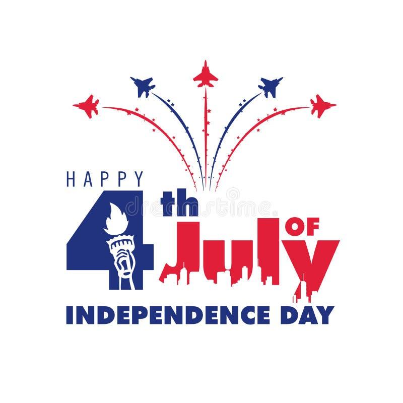 4o feliz da mensagem do Dia da Independência de julho imagem de stock