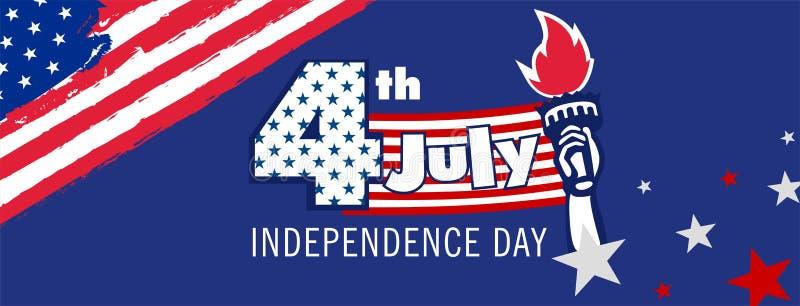 4o feliz da mensagem do Dia da Independência de julho imagens de stock