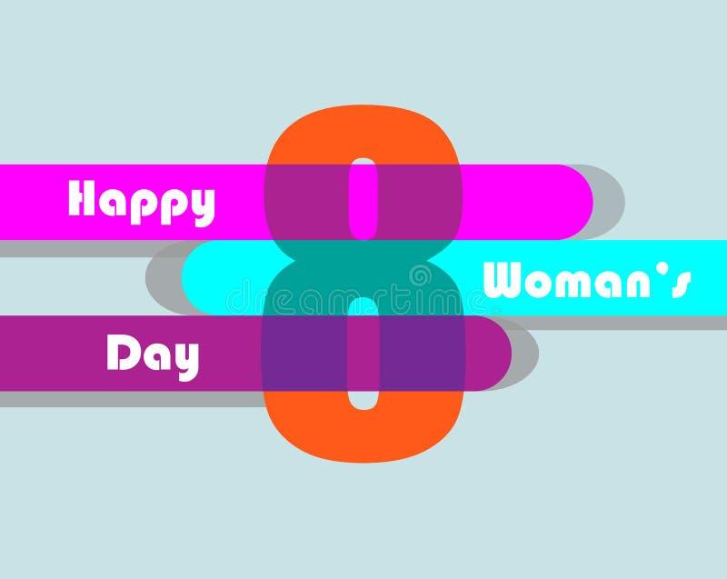 8o feliz da rotulação de março, o dia internacional das mulheres s ilustração do vetor
