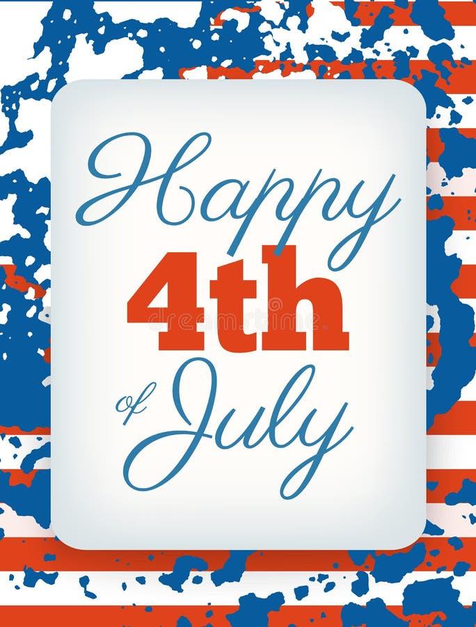 4o feliz do cartão de julho, Dia da Independência nacional do feriado dos E.U. ilustração stock