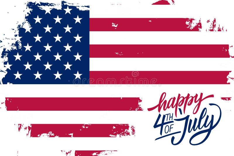 4o feliz do cartão do Dia da Independência de julho com fundo do curso da escova em cores da bandeira nacional e na rotulação ame ilustração do vetor