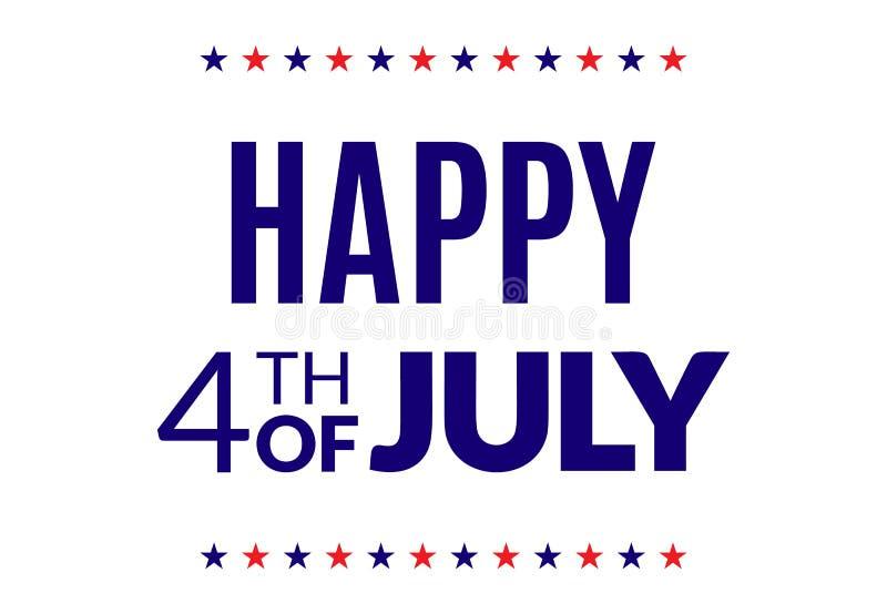 4o feliz do cartaz de julho ilustração stock