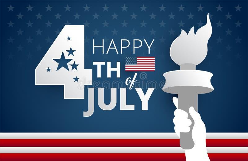 4o feliz do fundo azul dos EUA do Dia da Independência de julho com libe ilustração stock