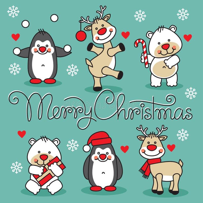 O Feliz Natal ajustou animais dos desenhos animados com texto ilustração stock