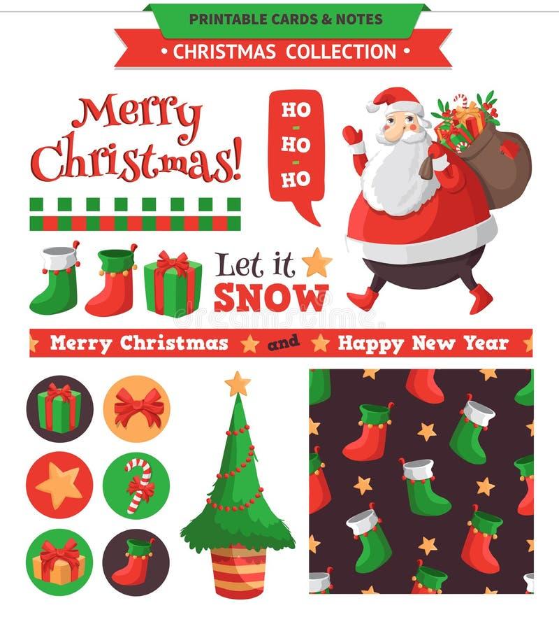 O Feliz Natal ajustou-se ilustração stock
