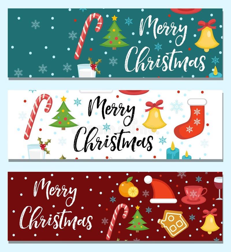 O Feliz Natal ajustou-se das bandeiras, molde com espaço para o texto para seu projeto Placa longa da coleção do feriado de inver ilustração stock