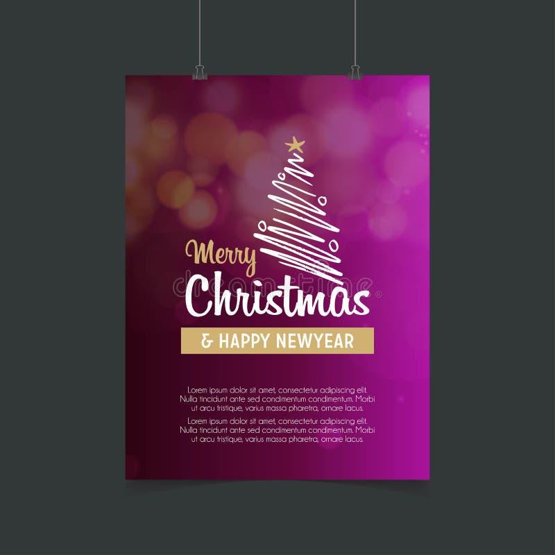 O Feliz Natal alinha o fundo roxo de incandescência da árvore e do ano novo feliz ilustração stock