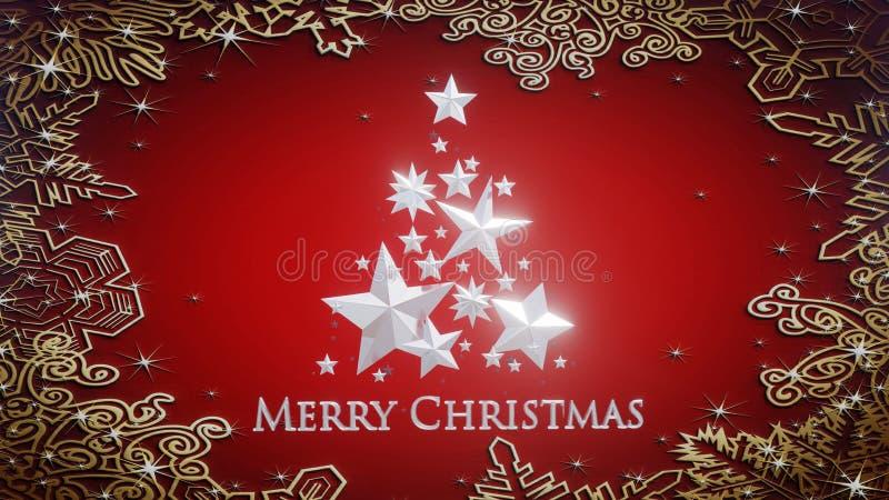 O Feliz Natal assina a árvore 3d fez com estrelas e os ornamento de prata ilustração do vetor