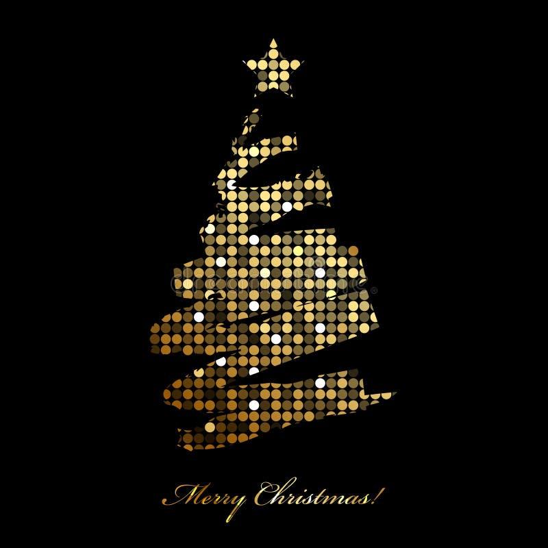 O Feliz Natal carda com a árvore de Natal da luz do disco ilustração do vetor