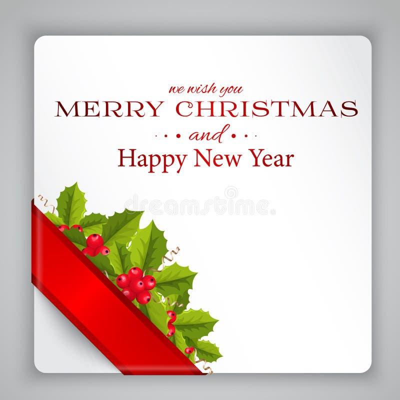 O Feliz Natal carda com azevinho ilustração stock