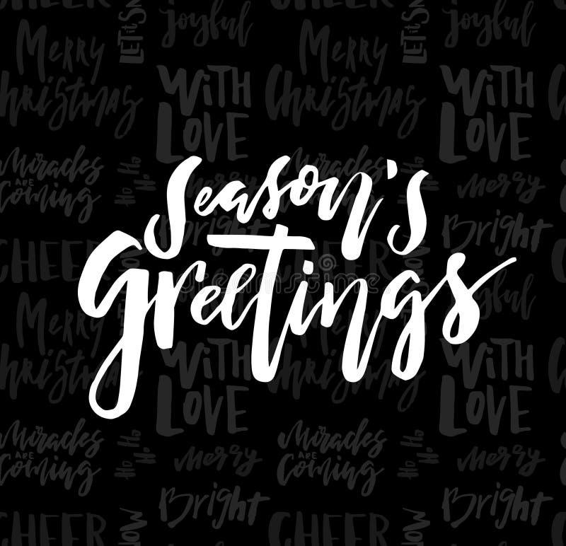 O Feliz Natal carda com cumprimentos das estações da caligrafia no seaml ilustração royalty free
