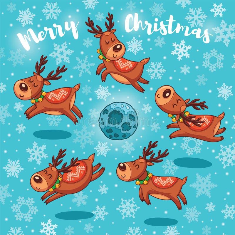 O Feliz Natal carda com os cervos bonitos dos desenhos animados ilustração royalty free