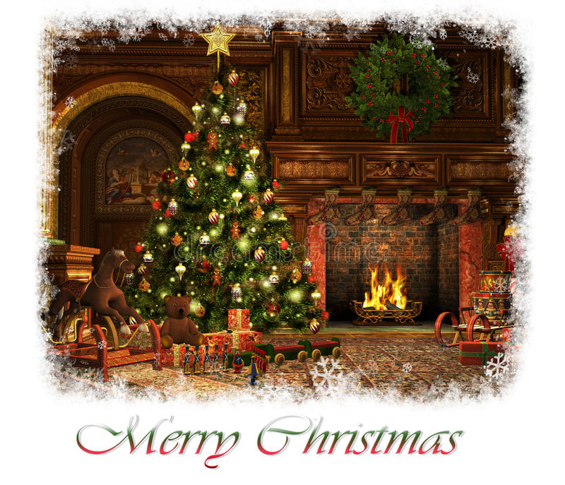 O Feliz Natal carda, 3d CG ilustração stock