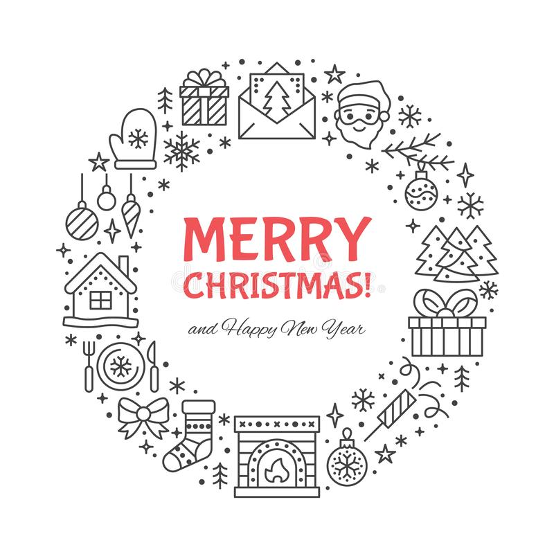 O Feliz Natal circunda a ilustração da bandeira com a linha lisa ícones Pinheiro do cartão do ano novo, presentes, caixas de pres ilustração stock
