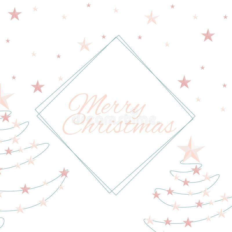 O Feliz Natal cita, vector o texto e as estrelas para cartões do projeto, cópias, cartazes ilustração royalty free