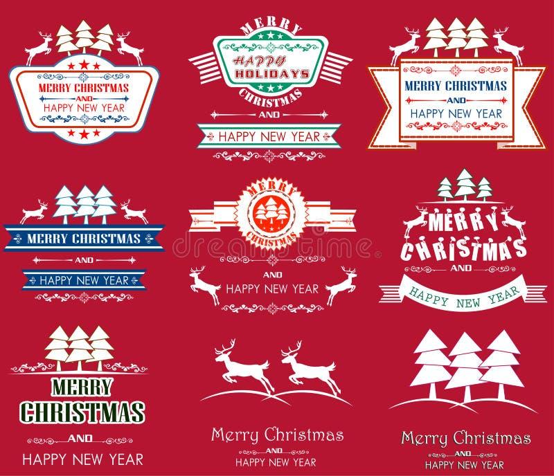 O Feliz Natal com vintage etiqueta a ilustração ilustração royalty free