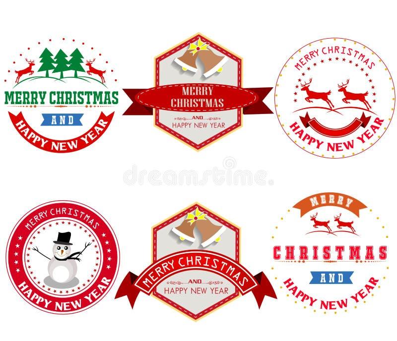 O Feliz Natal com vintage etiqueta a ilustração ilustração stock