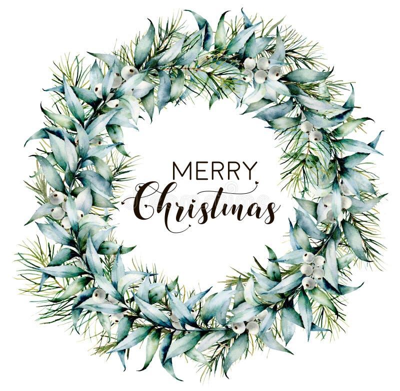 O Feliz Natal da aquarela envolve-se com eucalipto Beira pintado à mão do abeto com as folhas e os ramos do eucalipto, brancos ilustração do vetor
