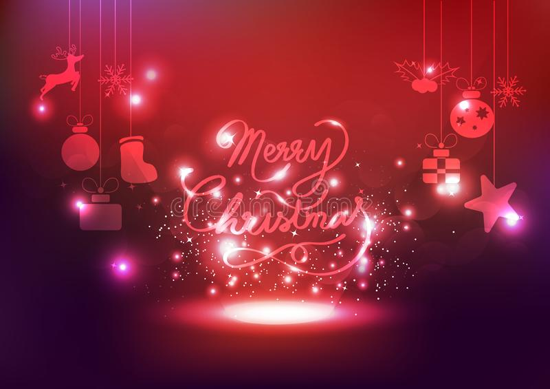 O Feliz Natal, decoração, estrelas da celebração ilumina o néon, glowi ilustração do vetor