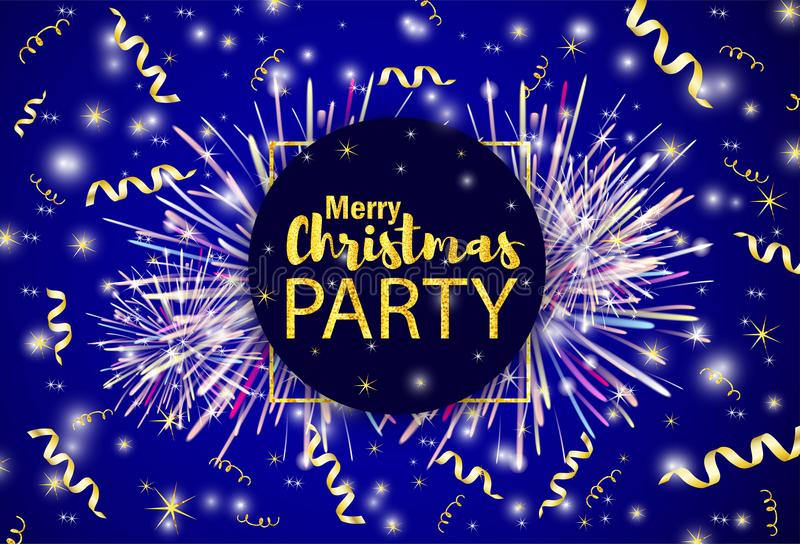 O Feliz Natal do texto do ouro Party e fitas no backgr brilhante ilustração stock