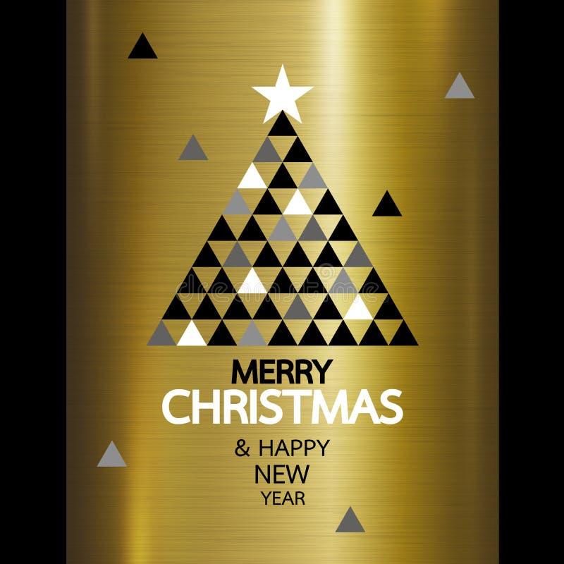 O Feliz Natal e o ano novo feliz projetam no metal do ouro ilustração stock