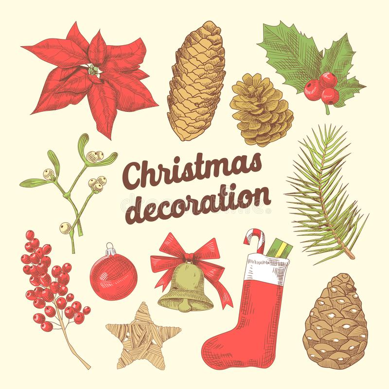 O Feliz Natal entrega a garatuja tirada com ramos do abeto, peúga da decoração ilustração royalty free