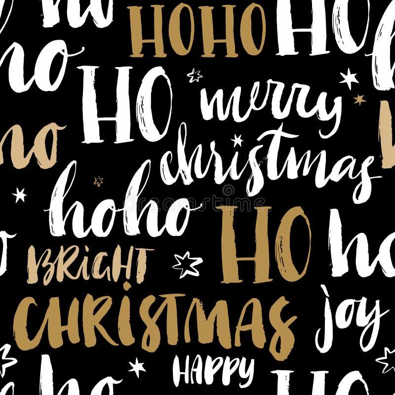 O Feliz Natal entrega o teste padrão sem emenda tirado com caligrafia Ha ilustração stock